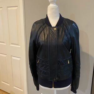 Tory Burch navy Liesel leather jacket
